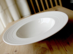 北欧原单白色新骨瓷深汤盘西餐盘子细罗纹出口餐具特价,盘碟,