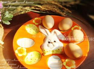 【田园手绘】设计独特的鸡蛋收纳盘 特色礼物  可爱兔子款H410,盘碟,