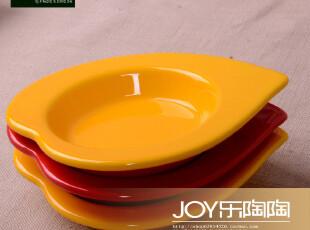 外贸陶瓷餐具 出口瓷器 心形醋碟 味碟 小菜碟 黄色醋蝶 红色醋蝶,盘碟,