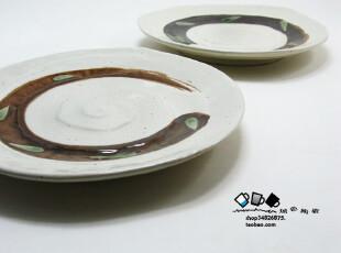 城色外贸 月亮湾 螺纹 和风日式手绘餐盘 陶瓷盘子餐具450g,盘碟,
