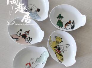 姆明moomin套装陶瓷鱼形骨碟/小号盘子 日本外贸陶瓷 MM131-72,盘碟,