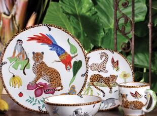 【欧美原单】JUNGLE JUBILEE森林系列餐具套装 盘子 豹纹 果盘,盘碟,
