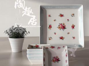 小花系列 套装陶瓷 一盘四碟  田园风格  日本原单陶瓷尾货,盘碟,