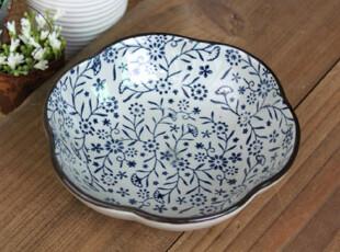 千度悠品 日式 和风 陶瓷 餐具 青花 红花 花朵型 碟子 小菜碟,盘碟,
