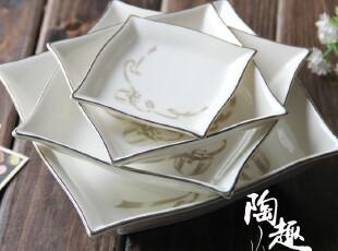 【日本婚庆陶瓷】陶瓷银色镶边盘子/碟子 四个尺寸 HS-010,盘碟,