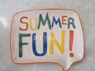 外贸陶瓷 tag 夏日清凉 手绘浮雕字母趣味温馨点心盘零食盘水果盘,盘碟,