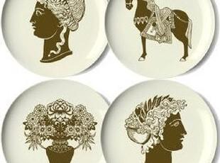 简单的奢华 现货 古罗马贵族头像骏马盆景甜点水果盘4件套限时9折,盘碟,
