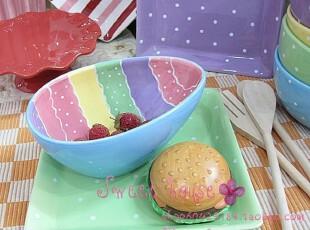ZAKKA杂货 甜点/点心/水果/装饰盘 微瑕 彩绘波纹水玉点蛋形盘,盘碟,