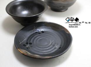 刻花梅花粗陶盘小号 日式和风陶瓷盘子 餐具餐盘菜盘 创意盘300g,盘碟,