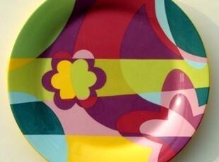 现代简约不规则几何图案/绚烂地中海圆形装饰盘/西餐盘,盘碟,