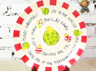 【A grass】外贸手绘陶瓷开心快乐糖果餐盘\装饰盘!,盘碟,