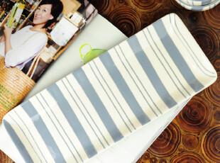 蓝色地中海 欧式简约 横条纹长盘 果盘茶盘 餐具家居用品,盘碟,