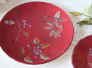 出口尾单 绛红色柔风细菊典雅仿古做旧手绘陶瓷平盘菜盘果盘套二,盘碟,