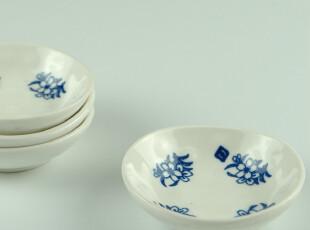 日式手工青花酱油碟(四小花) 小盘 碟子 陶瓷餐具,盘碟,