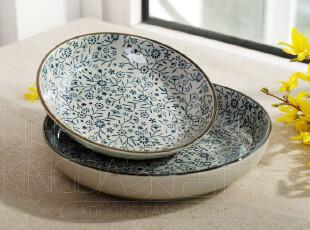 出口日本 日式和风瓷器 陶瓷餐具  蓝碎花 盘子 圆盘 菜盘 深汤盘,盘碟,