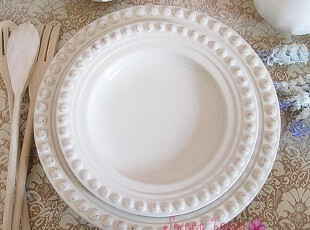 GG美法式浪漫希腊宫廷外贸西餐盘陶瓷象牙白浮雕作旧复古珠珠圆碟,盘碟,