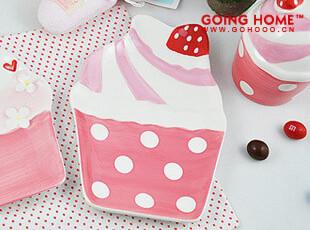 日本原单 可爱草莓冰激凌  盘子 小碟子 零食盘 礼物 B点点,盘碟,