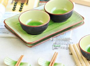 绿色冰裂系列 陶瓷调味碟子(茶碗)有深度 还有造型 好用,盘碟,
