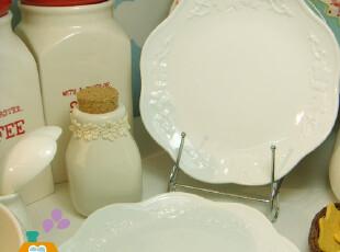 盘子 陶瓷 外贸原单欧式复古浮雕花边餐盘/菜盘/西餐盘/点心盘,盘碟,