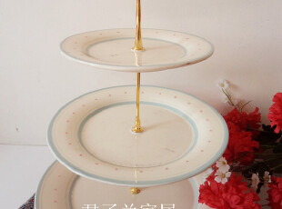 三层 层叠盘 蛋糕盘 糕点盘 水果盘 party必备 出口 陶瓷 点点,盘碟,