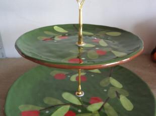 二层 层叠盘 蛋糕盘 糕点盘 水果盘 party必备 出口 陶瓷手绘石榴,盘碟,