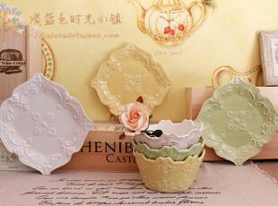 珍藏款 巴黎香颂 法式优雅 洛可可浮雕 4色入 小方盘 外贸陶瓷,盘碟,
