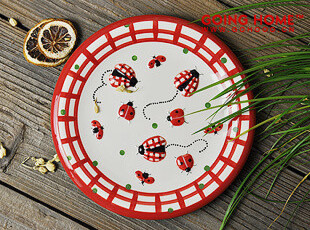 可爱瓢虫  圆盘 盘子 装饰盘,盘碟,
