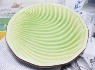盘子 特色圆形盘 外贸陶瓷餐具 菜盘 西餐盘 水果盘 绿色冰裂大盘,盘碟,