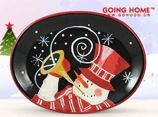 圣诞雪人 黑色  陶瓷餐具 大号椭圆盘 盘子 水果盘 装饰盘,盘碟,