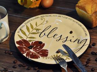 【欧美原单】BLESSINGS彩绘陶盘 水果盘 田园 餐盘 正品 欧式,盘碟,