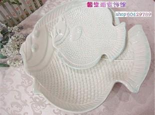 省内包邮外贸彩绘陶瓷西餐装饰水果斗ZAKKA杂货粉蓝浮雕鱼盘2件套,盘碟,