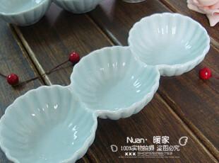 2088 素锦。日式和风餐具 陶瓷 三连碟/味碟/蘸料碟,盘碟,