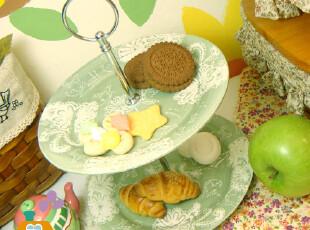 美丽说推荐 绿色刻花 华丽英式下午茶 双层点心盘/水果盘/西餐盘,盘碟,