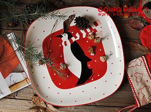 可爱企鹅 陶瓷水果盘 果盆 干果盘 圣诞的问候,盘碟,