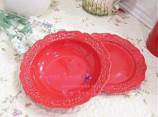 特价外贸手彩绘陶瓷餐具婚新房装饰水糖果盘 微瑕疵红色镂空圆盘,盘碟,