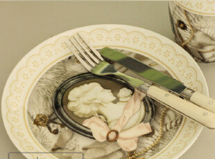 出口法国 超精致公主风 骨瓷盘子 骨瓷碟子 创意欧式复古骨瓷盘子,盘碟,