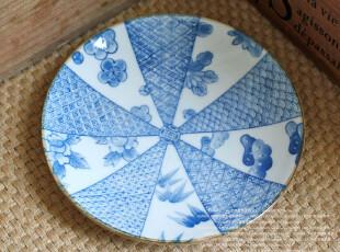千度悠品 日式和风 陶瓷 餐具 浅盘 碟 圆碟 碟子 碗垫 骨碟,盘碟,