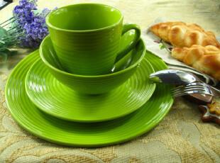 新品 外贸出口果绿色 陶瓷盘子 大盘 西餐盘 饭盘 (大号)平盘,盘碟,