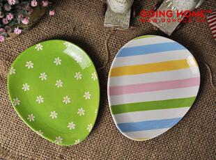 可爱彩蛋 陶瓷 盘子 菜盘 椭圆盘 零食盘 2色,盘碟,