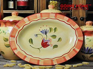 pfaltzgraff  柳叶花暖黄 瓷器餐具 椭圆盘 菜盘 盘子 可做鱼盘哦,盘碟,