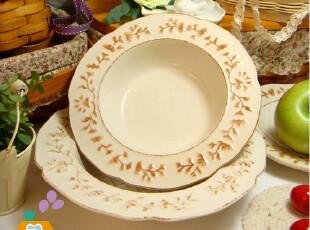 美丽说推荐 汤盘 外贸陶瓷餐盘/西餐盘/汤盘 做旧花边薯格盘,盘碟,