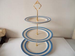 三层 层叠盘 蛋糕盘 糕点盘 水果盘 party必备 出口 陶瓷 海军蓝,盘碟,