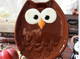 欧美外贸陶瓷出口餐具手绘彩色超萌猫头鹰餐盘零食盘点心盘盘子,盘碟,