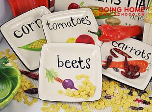 四季的收获 瓷器餐具套装 田园 蔬果 方盘 盘子 15元1个,盘碟,
