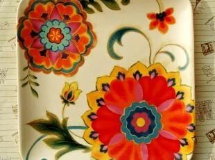 舌尖上的盘子/清新森女范儿/法式乡村方形陶瓷餐具/装饰盘/西餐盘,盘碟,