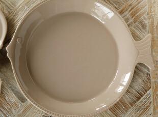 北欧表情/美克美家法式乡村浮雕高温陶瓷餐具/暖褐鱼形大果盘,盘碟,