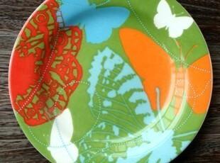 美克美家美式乡村陶瓷餐具/蝴蝶季装饰盘挂盘/点心盘/西餐盘/C款,盘碟,