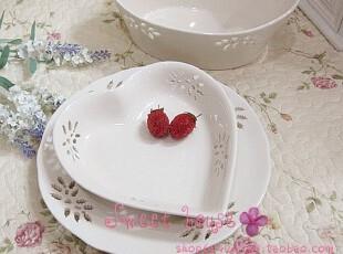 SPODE外贸餐具陶瓷水果沙拉蛋糕拍摄道具装饰象牙白镂空爱心盘,盘碟,