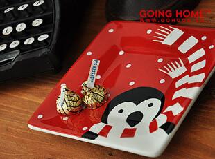 可爱企鹅 陶瓷 小方盘 盘子 味碟 圣诞的问候,盘碟,
