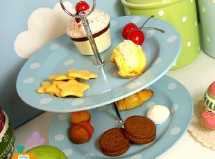 限时特卖 波点英式下午茶 双层点心盘/水果盘/西餐盘,盘碟,